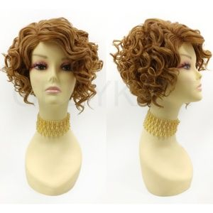 Strawberry blonde lace front short curly wig